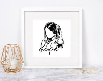 Princess Leia cross stitch pattern Star wars Modern Silhouette Hope Easy Beginner Monochrome Black Blackwork Instant download PDF #072