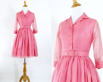 Vintage 1950s Dress | 50s Pink Nylon Chiffon Shirtwaist Dress | Extra Small XS