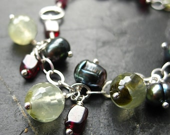 Fruits of the Forest Charm Bracelet. Pearl, Garnet, Prehnite