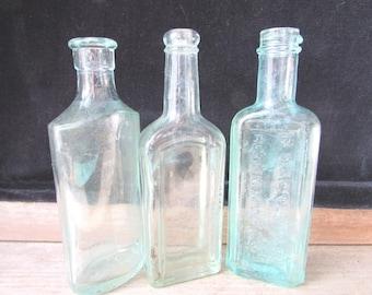 Blue Bottles Three Vintage Bottles Apothecary Vintage Wedding Decor Bud Vases