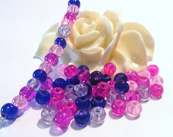 300 beads in glass Crackle, multicolored, 4 mm, (118B)