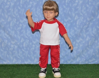 """23"""" Boy Doll Clothes - Fits My Twinn - Red and White Sweats Outfit - Handmade"""