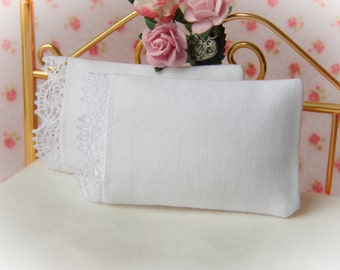 Dollhouse Miniature Set of 2 White Pillows with Victorian Lace Trim  - 1:12 scale
