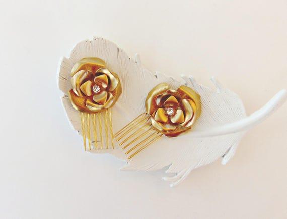 Brass Flower Hair Combs, Bridal Hair Combs, Gold Flower Hair Comb, Swarovski Crystal Hair Comb, Bridal Hair Combs, Flower Hair Combs GOLDEN