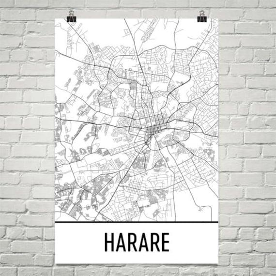 Harare Map Harare Art Harare Print Harare Zimbabwe Poster
