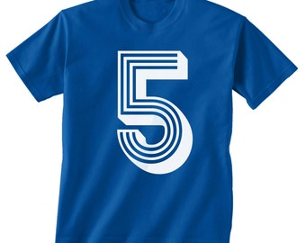 5th BIRTHDAY -- KIDS T shirt -- soccer number 5 Size 2t, 3t, 4t, youth xs, yth sm, yth med, yth lg ( 7 COLORS ) skip n whistle