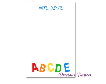 Personalized ABC Teacher notepads Personalized reading teacher gifts math teacher note pads letter note pad