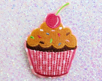 Pink Cherry Cupcake with Sprinkles Embroidered Iron On Patches - 75mm - Polka Dots - Kitsch - DIY - Sweets - Applique - Embellishment