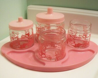 Vintage Pink Round the Clock Nursery Jars and Tray