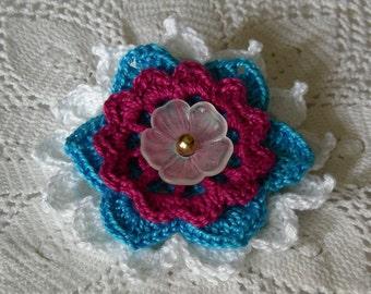 Ice Blossom Flower Brooch, Crochet Thread Pin, FB156-01