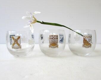 Mid Century Barware - 3 Canadain Design Roly Poly Glasses - Gold - White - British Columbia - N.W. Territory- Yukon - Prince Edward Island