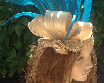 Natural Fiber Headpiece For Tahitian & Cook Islands Dancers Of All Ages!! Weaved Lauhala, Sea Grass, Black Pearl And Hau Bark.