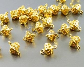 4 tiny golden lanterns / earrings dangle connectors / brass metal links 1860-MG