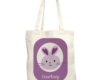 Easter Bunny Personalized Tote Bag,  canvas tote, easter gift, easter egg hunt, easter bunny, for kids, spring, purple -gfy8100852-Purple