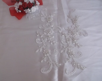 Ivory Silver/Rhinestone/Pearl Beaded Applique