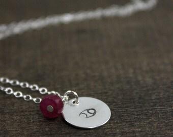 Hand Stamped Zodiac Necklace - July Cancer - Ruby - Sterling Silver - July Birthday - Cancer Necklace - Horoscope Jewelry - Zodiac Jewelry