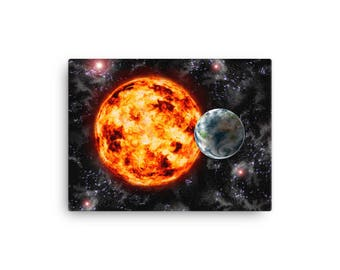 Canvas print - Earth-Sun-Space Painting
