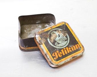 Vintage Rare Pelikan Brown Orange Metal Thin Case Box Collectible Multifunctional Memory Jewelry box Wedding Memory  Organizer, ohtteam,