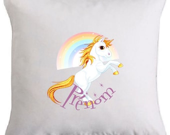 Rainbow Unicorn pillow personalized with text of your choice