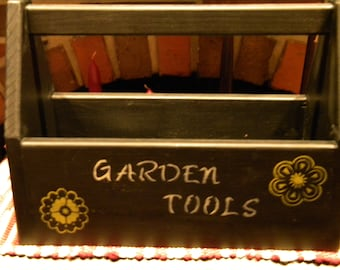 Primitive/distressed garden tool box/carrier  Antique reproduction A carry all for different items