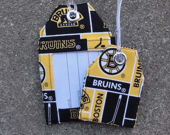 Luggage Tags made from NHL  Boston Bruins Fabric Luggage Bag and Identification Tags Gold and Black