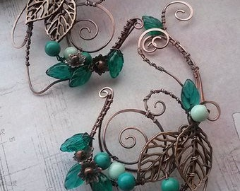 """Cuff on the left ear """"EMERALD FOREST"""""""