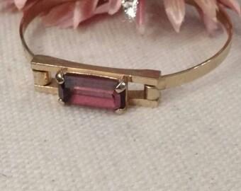 Avon Amethyst Crystal Bracelet, Latch, Cuff, Gold Tone, Stamped, February Birthstone
