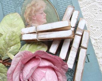 White Clothespins Distressed,  Cottage Chic,  Rustic Home Decor, Photo Clips,  Wedding Decor,  Organize, Nursery Decor, Boho Decor