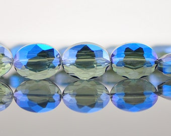 Oval  Crystal Glass Faceted beads 16mm Sparkly Montana Blue - (TS56-1)/ 48pcs