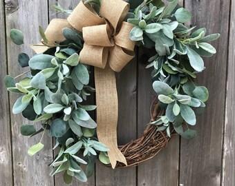 GREENERY lambs ear and eucalyptus WREATH with burlap ribbon