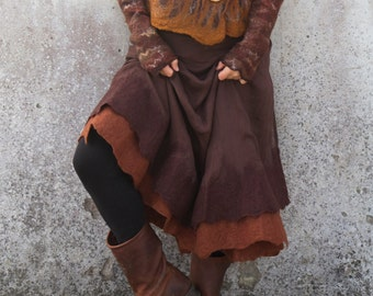 Rustic brown ~ Felted wrap skirt ~ Earthy ~ Nuno felt ~ Gypsy skirt
