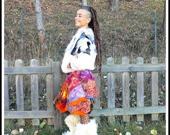 ethnic colorful patchwork skirt