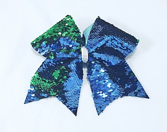 Blue and green reversible sequin cheer bow!