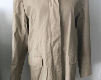 BCBG For NORDSTROM Coat Womens 12 Water Resistant Tan Cotton Fall Spring Dressy