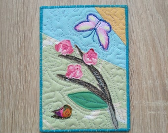 Greeting Postcard/ Birthday Gift/ Greeting Card/ Mini Art Quilt 4x6/ Greeting Cards/ Room Decor Card 4x6/ Gift For Mom/ Child Room Decor