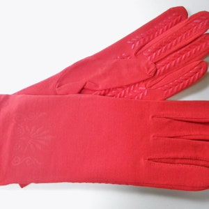Red Gloves Deadstock Womens Vintage 80s Red Orange