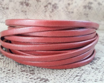 Pink metal 5 mm flat leather European quality