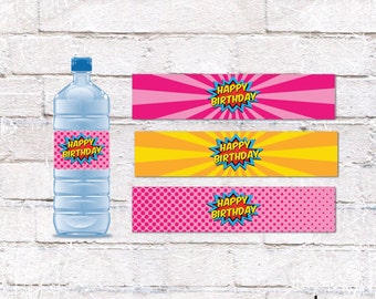 Superhero Girl Birthday Party Water Bottle Labels - 8.5x11 Printable - DIY Water Bottle Labels *INSTANT DOWNLOAD*