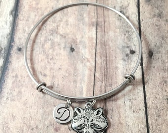Raccoon initial bangle - raccoon jewelry, woodland jewelry, forest jewelry, raccoon bangle, woodland bracelet, silver raccoon pendant