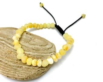 Amber Bracelet/ White Baltic Amber/ Healing Amber Bracelet/ Beaded Amber Bracelet/ Amber Jewelry/ Beaded Bracelet/ Handmade B16