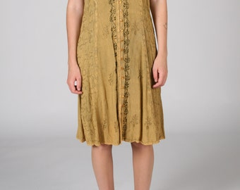 Yellow EMBROIDERED Emerald RAYON Dress Boho Womens L Large Vintage Summer Midi Mustard Indian Tan Festival Tie Hippie Hippy