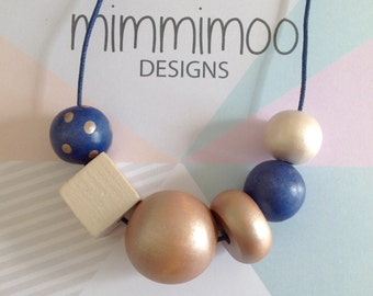 Navy Wooden Bead Necklace