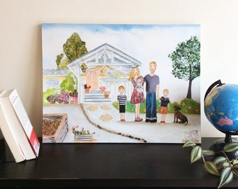 Custom Family Portrait with Custom House illustration - Mixed-Media Illustration