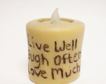 Primitive Sentiment Candle, Decorative Candles, Country Farmhouse Decor