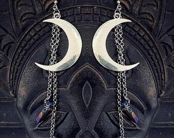 Moon Earrings, Luna Earrings, Titanium Aura Earrings, Wicca Earrings, Crescent Moon, Waning Moon
