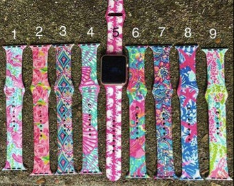 Lily inspired Apple Watch Bands, Monogrammed, 42mm and 38mm,  Mother's Day, Gift for her,9 patterns, 2 sizes, great price, Apple Watch Bands