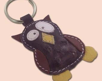 Cute little gray owl leather animal keychain - FREE Shipping