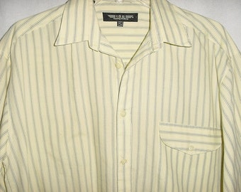 Vintage 80s Mens IOU Yellow Gray Striped Cotton Shirt S Baggy Fit