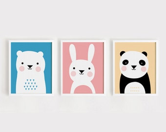 Printable Nursery Art Set of 3 Poster Bear Bunny Panda - Baby room Wall art Child room decor Digital file INSTANT DOWNLOAD