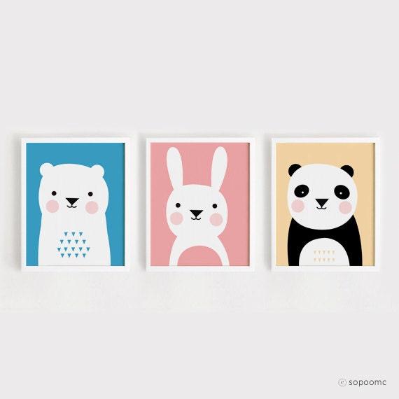 Nursery Art For Children Kids Wall Art Baby Girl Nursery Baby: Printable Nursery Art Set Of 3 Poster Bear Bunny Panda Baby